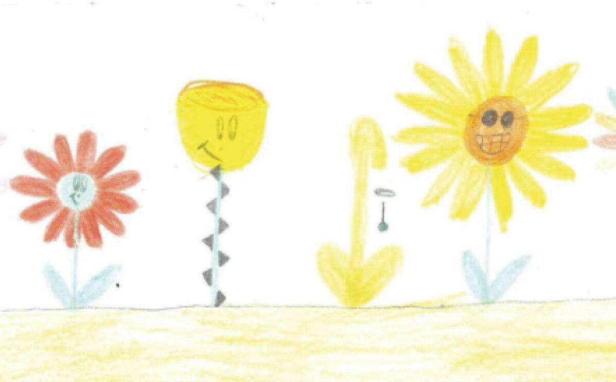 En Barnteckning med olika blommor
